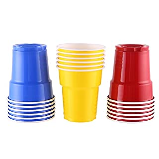 CCINEE Plastic Disposable American Party Beer Pong Cups 7 OZ(200ML),60set