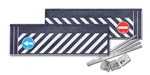 """Preisvergleich Produktbild LKW-Heckschürze / Schmutzfängerleiste """"Einbahnstraße"""" (aus Hartgummi) - Extra schwere Ausführung - 240x38 cm - 2teilig mit Befestigungsschienen"""