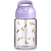 Botella de agua de paja Oneisall – 15,3 Botella de cristal de borosilicato con asa fácil de transportar – taza de viaje para zumo hecho a mano y leche con ...