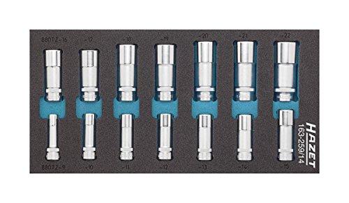 Hazet 163-259/14 Innenvierkant Antrieb 10 = 3/8 Zoll Doppel-6kt-Steckschlüssel-Einsatz-Satz