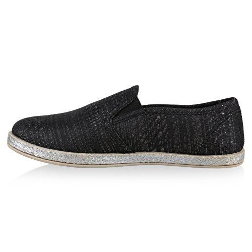 Damen Slipper Espadrilles Schuhe Flats Metallic Glitzer Slipper Schwarz Camargo