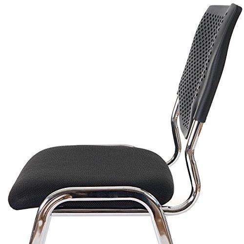 Mendler 4x Besucherstuhl T401, Konferenzstuhl stapelbar, Textil ~ Sitz schwarz, Füße chrom - 2