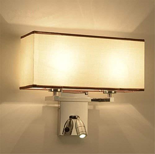 Lampe Wandleuchten Moderne E27 Hotel Style Bedside Rechteck Stoff Lampenschirm Edelstahl Wandleuchte mit verstellbarem 1W LED Leselicht und Schalter für Wohnzimmer Schlafzimmer Dekoration Beleuchtung -