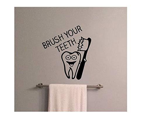 42x42 cm Zitat Zeichen Wandtattoo Putzen Sie Ihre Zähne Vinyl Badezimmer Wandaufkleber Zahnbürste Abnehmbare Kinder Kindergarten Regeln Keime Hause