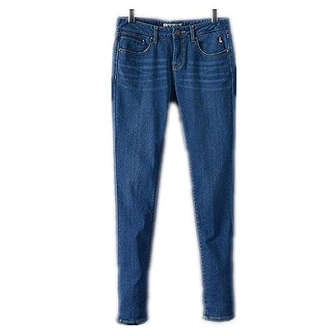 Byjia Jeans Femmes Blue Denim Brodé Bootcut Base Courbes Pulpeuse Détruit Détendue Pantalon Forme Puissance De Jambe Droite .