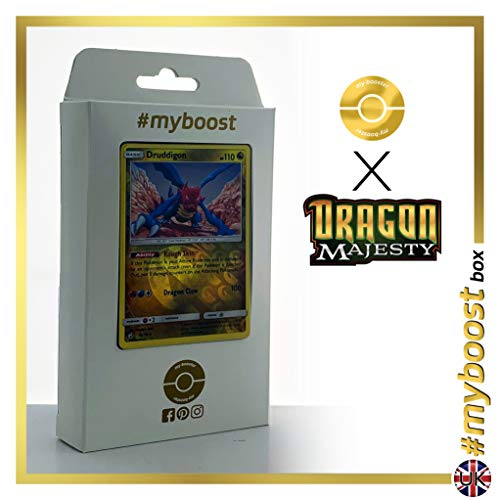 Druddigon 45/70 Holo Reverse - #myboost X Sun & Moon 7.5 Dragon Majesty - Box de 10 cartas Pokémon Inglesas