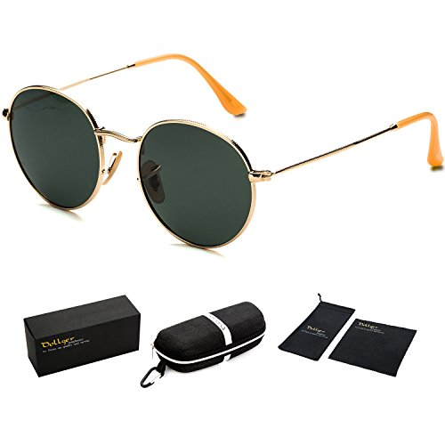 Dollger Lennon Style Vintage Circle Hippie Sunglasses with Polarized Lenses(Green lens+Gold Frame) steampunk buy now online