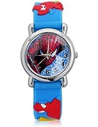 Denis Ftomov - Reloj de pulsera para niño (reloj de acero inoxidable y correa de goma), diseño de Spiderman