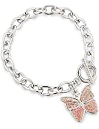 Pink Butterfly Charm Bracelet with T-Bar fixing - Children's Jewellery - Gift bag
