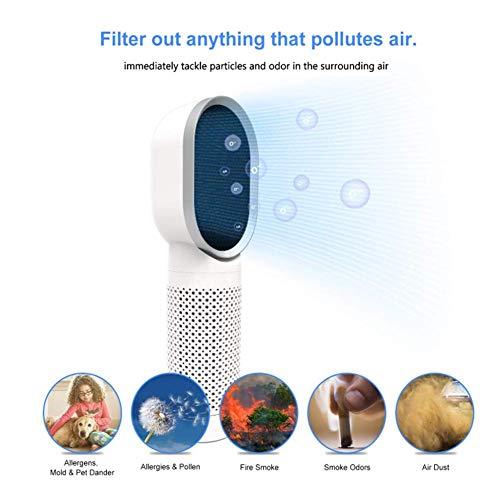 YAMO Desktop-Luftreiniger mit echtem HEPA-Filter und Aktivkohlefilter, tragbarer Luftreiniger zur Beseitigung von Geruchsallergien gegen Rauch, Staub, Schimmel(weiß) [Energieklasse A +] (Desktop-hepa-filter)