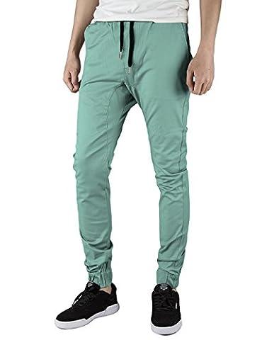 Italy Morn Herren Jogger Chino Hose Sweatpants Sporthose Jogging Baggy Jogginghose Slim Trainingshose Cargo Pants Twill Schwarz (XL(Size36), Hellgrün)