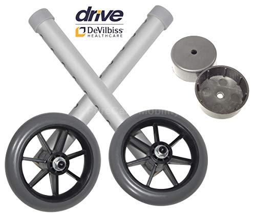Ruedas de repuesto para marcos de disco Devilbiss de 12,7 cm - Incluye 2 deslizadores traseros gratis.