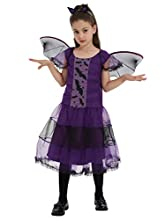ShiyiUP Girl's Fairytale Classic Costume Halloween Fancy Dress Witch Outfit,Purple bat,100