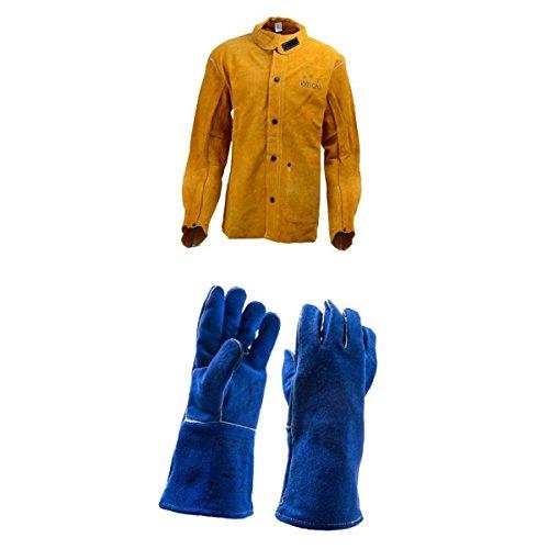 Baoblaze Schweißer Schweißen Jacke Schutzkleidung Bekleidung Anzug Schweißerschutzjacke Schweißerjacke mit Lange Hitzebeständige Handschuhe Schweißerhandschuhe Arbeitshandschuhe Sicherheitshandschuhe für Schweißen - M (Feuerhemmende Kleidung)