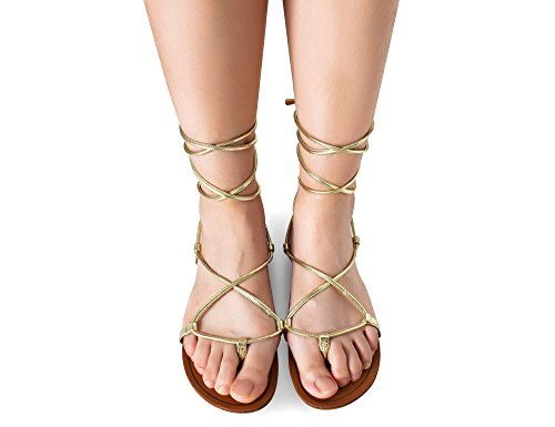 MaxMuXun Chaussures Femme Sandale Gladiateur Plat EU 36-41 Or
