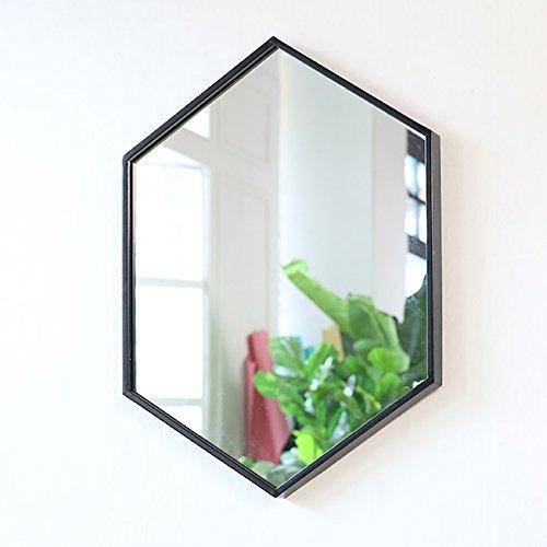 GUOWEI Spiegel Hexagon An Der Wand Montiert Eisenrahmen Badezimmer Bilden 3 Größen (Farbe : Schwarz, größe : 50x70cm)