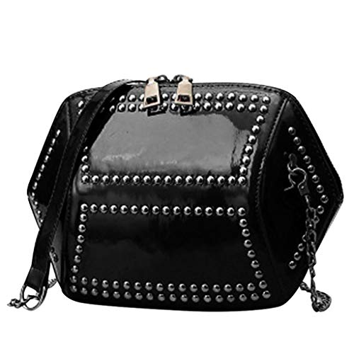 ziYOU Damen Retro Lackleder Kette Glossy Rivet Bag Volltonfarbe Shell Bag Diagonal Chain Bag(16cmx25cmx7cm, Schwarz)