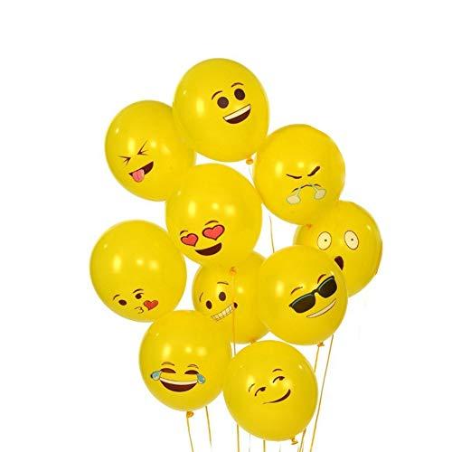 Sixcup®Emoji Balloons Party Luftballons Verschiedene Miene Laune Smiley Gesicht Ballons Design Kinder Latex Heliumballons Deko Geburtstagsfeierversorgungen Neuheit Hochzeit Wedding (Yellow, 10PCS) (Roter Emoji Ballon)