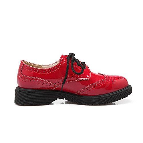 VogueZone009 Damen Rund Zehe Schnüren Lackleder Rein Niedriger Absatz Pumps Schuhe Rot ljHTEGLIp
