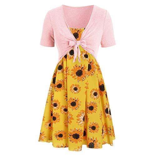 Zegeey Damen Sommerkleider Retro Sling Set Cardigan Zweiteiliges Set Sommer Kleider Festlich Geschenk Partykleider Cocktail Abendkleid Blumenkleid(A6-Gelb,EU-42/CN-2XL)