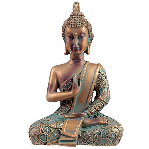 Puckator Thai Buddha Figur kupferfarben mit Grünspan-Effekt, 15 x 10 x 5,5 cm, aus Kunststein (Polyresin), für asiatische/orientalische Wohndeko, Deko Skulptur für Buddhismus - Fans