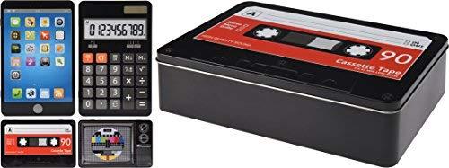 Elyte Retail Funky Retro Vintage Style Dekorative Aufbewahrung Dosen in 4Designs–TV mit Test Karte, Tape, Smart Telefon, Taschenrechner Smart Phone