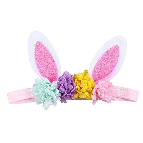 Amosfun Baby Mädchen Glitter Ostern Kaninchen Hase Ohren Blume Stirnband Haarband Kostüm für Baby Kleinkinder Kleinkind (Muster 4)