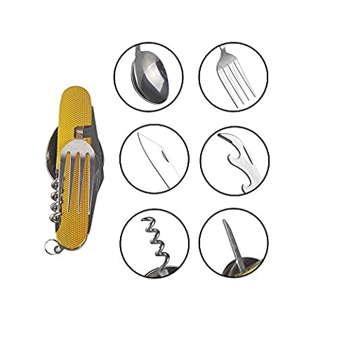 Outdoor Cutlery, Stainless Tool Set 6 in 1 Cooking Eating