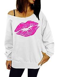 CeRui Mujeres Camisetas Sweatshirt Fuera del Hombro Manga Larga Sudaderas