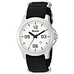 Roots Men's 'Core' Quartz Stainless Steel and Nylon Casual Watch, Color:Black (Model: 1R-LF400WH7B)