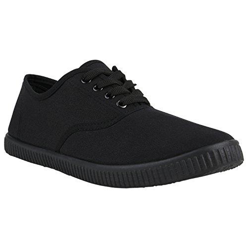 Damen Sneakers Stoff Sneaker Low Muster Basic Schuhe Animal Print Freizeit Turnschuhe Schnürer Flandell Schwarz Black