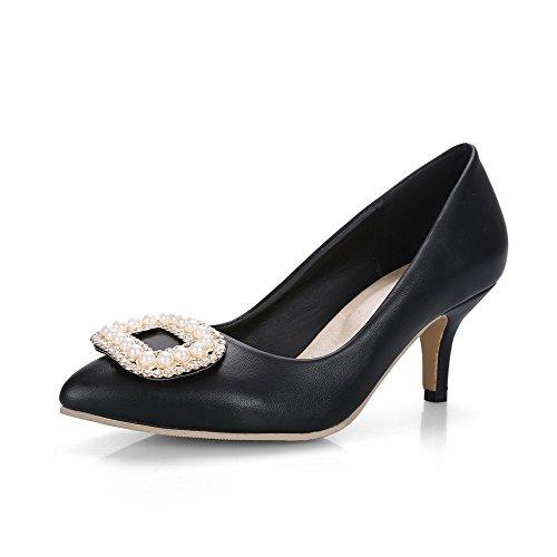 Voguezone009 Senhoras Puro Suave Puxar Calcanhar Meados Material Sobre Dedo Apontado Bombas Sapatos Pretos