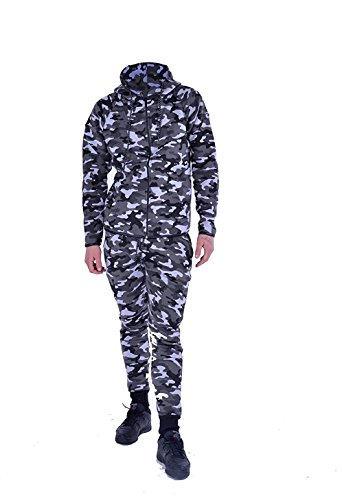 Kids Boys Girls Contrast Camouflage 2 piece Tracksuit Sweat Pants and Hoodie