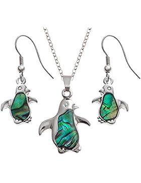 Bellamira Abalone versilbert Pinguin Halskette & Ohrringe Natürliche Paua Muschel Schmuck Set in Geschenkverpackung