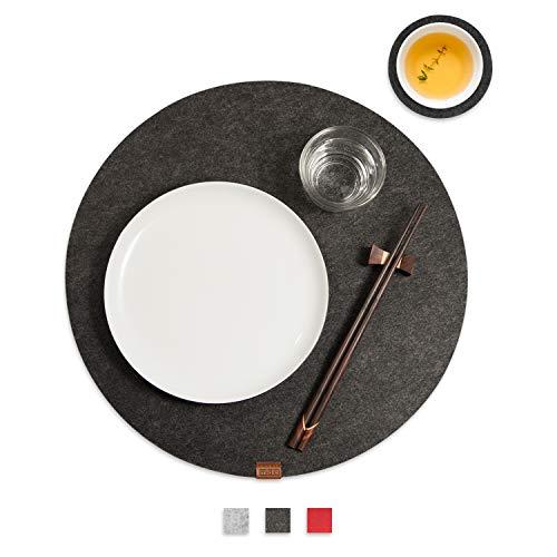 Miqio® - Filz und Leder - Design Platzsets (Rund) - Set mit 4 waschbaren Premium Tischsets 37 cm und 4 Getränkeuntersetzern (dunkelgrau anthrazit)