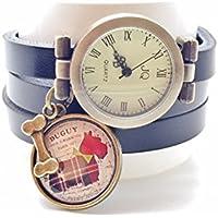 montre cuir bracelet 3 liens cabochon bronze illustré vintage, chien, os, scottie, noir