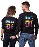 Pärchen Hoodie Set King Queen Pullover für Zwei Kapuzenpullover für Paare Paar Valentinstag Partner Geschenke Partnerlook Liebespaar Couple Mr Mrs Tops (Schwarz, Mann-M + Frau-S)