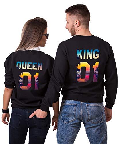 Tom's Couples Shop Pärchen Hoodie Set King Queen Pullover für Zwei Kapuzenpullover für Paare Paar Valentinstag Partner Geschenke Partnerlook Liebespaar Couple Mr Mrs Tops (Schwarz, Mann-XL + Frau-XL)