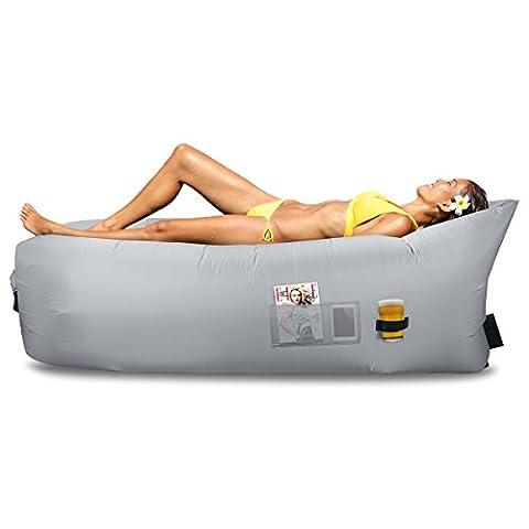 Sac gonflable transat, hamac, canapé air et flotteur de piscine - matériau de parachute - idéal pour l'intérieur ou l'extérieur pour camping randonnée - Lazy Bed, gris