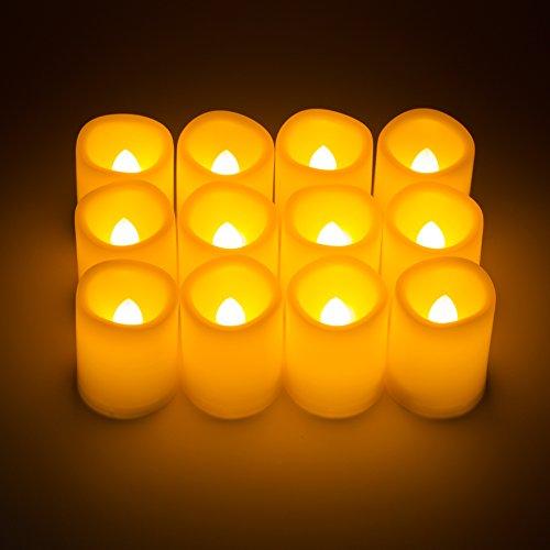 Kohree Set de 12 Velas LED Sin Llama con Pilas Modalidad de Temporización para Navidad,Bar, Restaurante,Spa