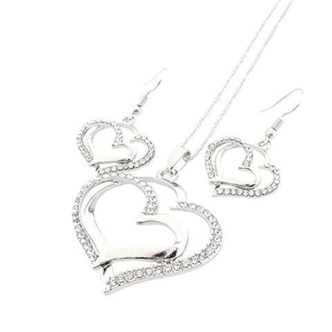 Merssavo Lot de Parure Collier et Boucles d'Oreilles Style Double Coeur avec strass Bijoux pour Femme Fille Argent