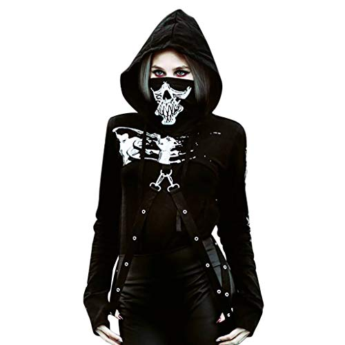 Mitlfuny Halloween coustems Kürbis Hexe Cosplay Gast Ghost Schicke Party Halloween deko,Frauen Punk Hoodie Schwarz Print Langarm Fashion Halloween Top Sweatshirt