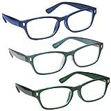 L'azienda Occhiali Da Lettura Blu Scuro Acquamarina Verde Scuro Lettori Valore 3 Pacco Uomo Donna RRR77-3Q6 Diottria +2,00