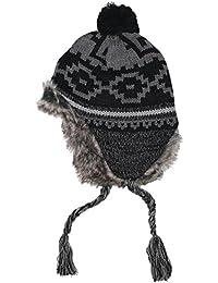 "Mütze ""Peru Piura"", mit Fell, schwarz/grau"