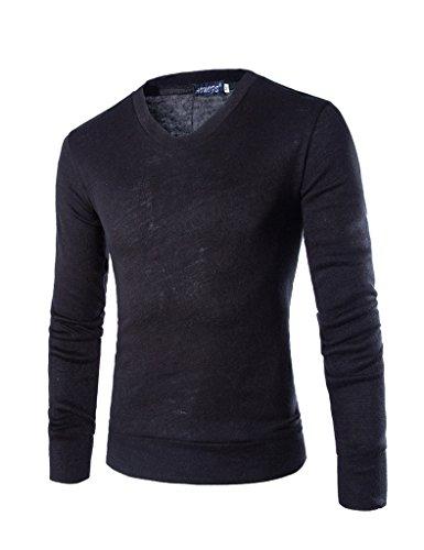 Bestgift Herren Solid Farbe V-Neck Langarm T-shirt Shirt Schwarz