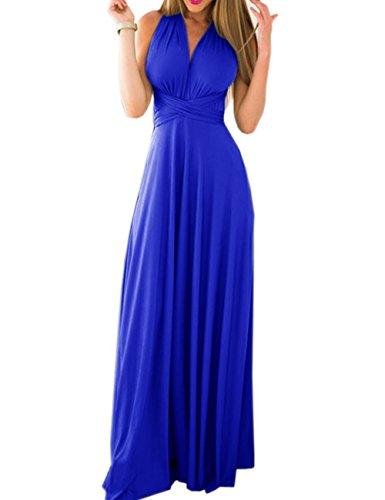 Kleid Sexy Blau (EMMA Damen Sexy Elgant V-Ausschnitt Rückenfrei Gefaltet Plisse Abendkleider Ärmellos Schulterfrei Cocktailkleid Abschluss Bandage Rücken Kreuz Brautjunfer Langes Sommer Party Kleid(SB,L))