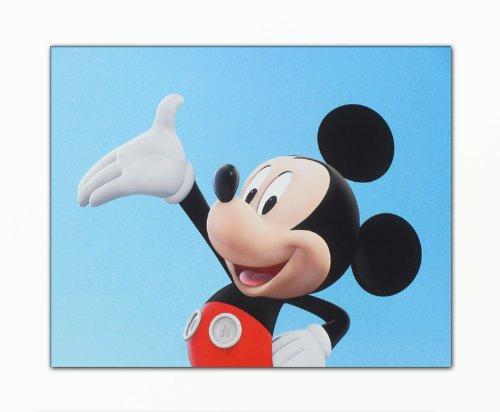 BERGER DESIGNS - Bild auf Leinwand – modern Art Design (Disneyland Mickey Maus Kinder weiß rot schwarz blau) Kunstdruck auf Rahmen mit Bilder Motiv (Mickey Mouse 40x50 cm). 100% Made in Germany – Qualität aus Deutschland. (Disneyland Kunst)