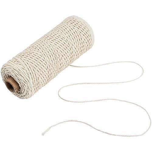 Jalan 1mm Makramee Baumwollschnur, Pflanzen Kleiderbügel Wandbehang Häkeln Böhmen Traumfänger DIY Craft Knitting - 200 Meter weiche ungefärbt natürliche Farbe Schnur String