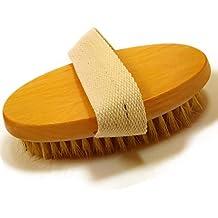 Glamza, spazzola per corpo, per spazzolatura a secco, professionale, con setole in fibra di cactus naturali, per centro benessere, vasca, massaggio, scrub