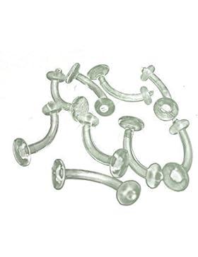 DCTattoo Plastik-Piercing Bauchnabel-Piercing Retainer klar 1,6°mm 14°g 5 Stück
